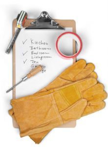 checklist with gloves
